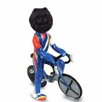 Pomeranian Black Bicycle Doogie Collectable Figurine