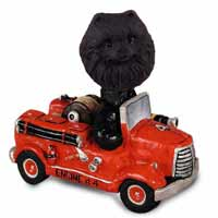 Pomeranian Black Fire Engine Doogie Collectable Figurine