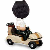 Pomeranian Black Golf Cart Doogie Collectable Figurine