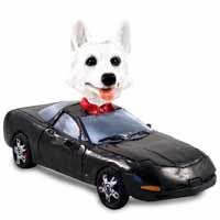 German Shepherd White Sports Car Doogie Collectable Figurine