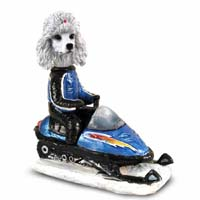 Poodle White Snowmobile Doogie Collectable Figurine