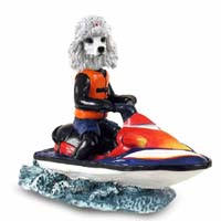 Poodle White Jet Ski Doogie Collectable Figurine