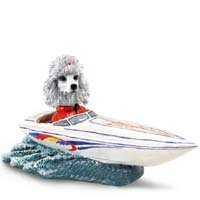 Poodle White Motorboat Doogie Collectable Figurine