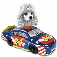 Poodle White Race Car Doogie Collectable Figurine