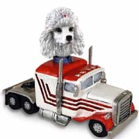 Poodle White Truck Tractor Doogie Collectable Figurine