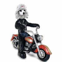 Poodle White Motorcycle Doogie Collectable Figurine