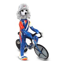 Poodle White Bicycle Doogie Collectable Figurine
