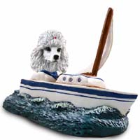Poodle White Sailboat Doogie Collectable Figurine