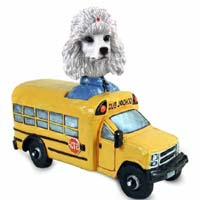 Poodle White School Bus Doogie Collectable Figurine