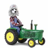 Poodle White Tractor Doogie Collectable Figurine