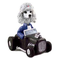 Poodle White Hot Rod Doogie Collectable Figurine