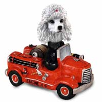 Poodle White Fire Engine Doogie Collectable Figurine