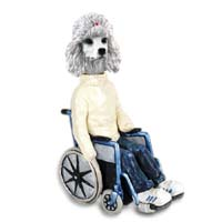 Poodle White Wheelchair Doogie Collectable Figurine