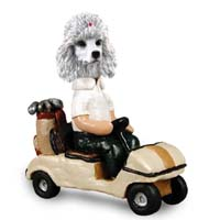 Poodle White Golf Cart Doogie Collectable Figurine