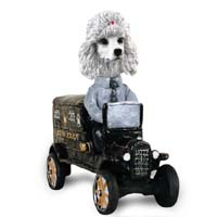 Poodle White Paddy Wagon Doogie Collectable Figurine