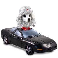 Poodle White Sports Car Doogie Collectable Figurine