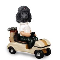 Poodle Black Golf Cart Doogie Collectable Figurine