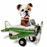 Bulldog White Airplane Doogie Collectable Figurine