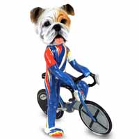 Bulldog White Bicycle Doogie Collectable Figurine