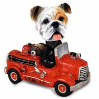 Bulldog White Fire Engine Doogie Collectable Figurine