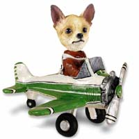 Chihuahua Tan/White Airplane Doogie Collectable Figurine