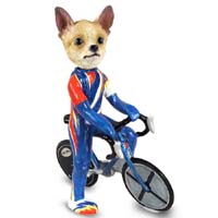 Chihuahua Tan/White Bicycle Doogie Collectable Figurine