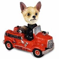 Chihuahua Tan/White Fire Engine Doogie Collectable Figurine
