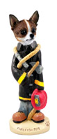 Chihuahua Brindle & White Fireman Doogie Collectable Figurine