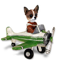 Chihuahua Brindle & White Airplane Doogie Collectable Figurine