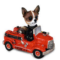 Chihuahua Brindle & White Fire Engine Doogie Collectable Figurine