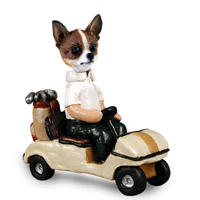 Chihuahua Brindle & White Golf Cart Doogie Collectable Figurine
