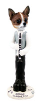 Chihuahua Brindle & White Clarinetist Doogie Collectable Figurine