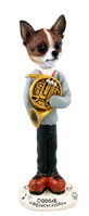 Chihuahua Brindle & White French Horn Doogie Collectable Figurine
