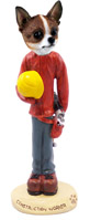 Chihuahua Brindle & White Construction Worker Doogie Collectable Figurine