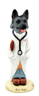 German Shepherd Black & Silver Doctor Doogie Collectable Figurine
