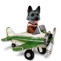 German Shepherd Black & Silver Airplane Doogie Collectable Figurine