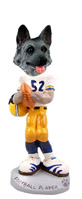 German Shepherd Black & Silver Football Player Doogie Collectable Figurine