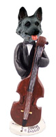 German Shepherd Black & Silver Bassist Doogie Collectable Figurine