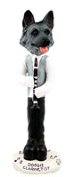 German Shepherd Black & Silver Clarinetist Doogie Collectable Figurine