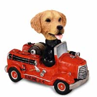 Golden Retriever Fire Engine Doogie Collectable Figurine