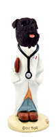 Schnauzer Black w/Uncropped Ears Doctor Doogie Collectable Figurine