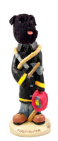 Schnauzer Black w/Uncropped Ears Fireman Doogie Collectable Figurine