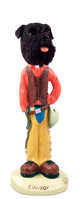 Schnauzer Black w/Uncropped Ears Cowboy Doogie Collectable Figurine