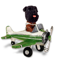 Schnauzer Black w/Uncropped Ears Airplane Doogie Collectable Figurine