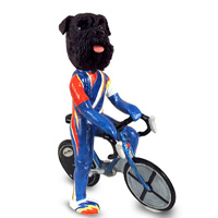 Schnauzer Black w/Uncropped Ears Bicycle Doogie Collectable Figurine