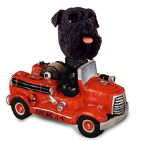 Schnauzer Black w/Uncropped Ears Fire Engine Doogie Collectable Figurine