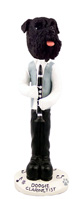 Schnauzer Black w/Uncropped Ears Clarinetist Doogie Collectable Figurine