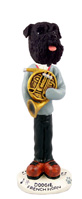 Schnauzer Black w/Uncropped Ears French Horn Doogie Collectable Figurine