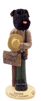 Schnauzer Black w/Uncropped Ears Forest Ranger Doogie Collectable Figurine
