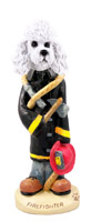 Poodle White w/Sport Cut Fireman Doogie Collectable Figurine